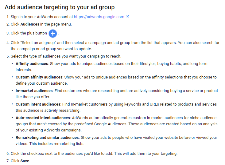 Screen-grab of Google's Instructions to Segment Your Audiences on Adwords